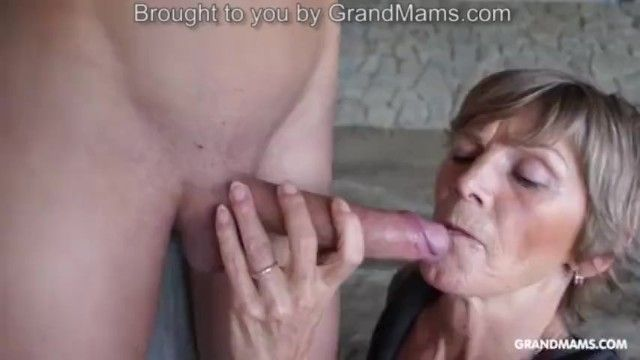 Excited tattooed grandma taped up her toyboy