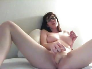 Breasty nerdy hotty masturbating on web camera