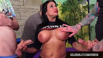 Breasty older sheila marie serves five males at one time using each gap shes got